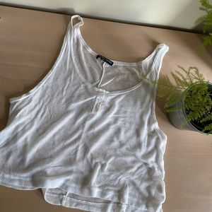 Brandy Melville White Cropped Flowy Button Up tank